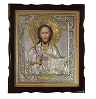 Икона живописная Спаситель в серебре