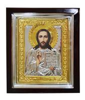 Икона Спаситель 24х28 золотистая