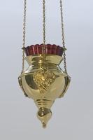 Лампада с херувимом позолоченная (диаметр)100