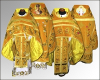 Вышивка облачение желтое Иерейское льен габардин бархат