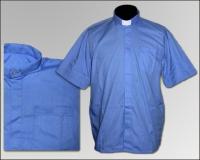 Рубашка короткий рукав  колоратка синяя