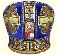 Синяя митра без креста - вышивка кресты
