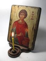 Подставка под икону - лист на одну свечку