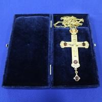 Крест позолота с камнями 001