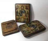 Икона под старину Святая Троица на доске