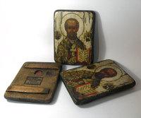 Икона под старину Святой Николай Чудотворец нимб