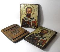 Икона под старину Святой Николай Чудотворец на доске