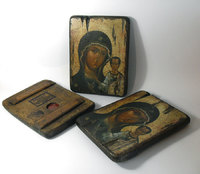 Икона под старину  Икона Божией Матери Владимирская на доске